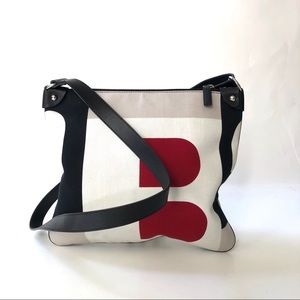 Bally Canvas & Leather Crossbody Tote Purse